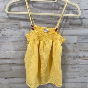 Yellow tank top wood bead accents small